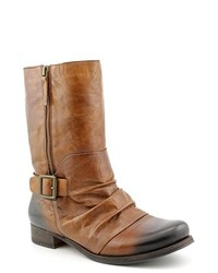 Vince Camuto Shada Brown Leather Fashion Mid Calf Boots