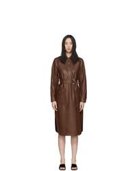 Tibi Brown Faux Leather Shirt Dress