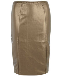 Dorothy perkins bronze leather look pencil skirt medium 99369