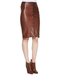 Zip front leather pencil skirt medium 114488