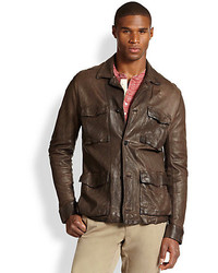 Billy Reid Military Leather Shirt Jacket