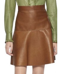 Gucci Leather Flare Skirt