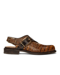 Dries Van Noten Brown Leather Monk Shoes