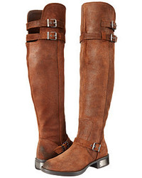 Brown Leather Over The Knee Boots for Women | Women's Fashion
