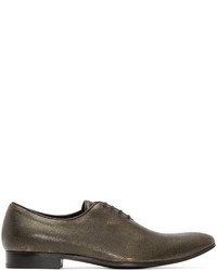 Haider Ackermann Gold And Black Distressed Leather Oxfords