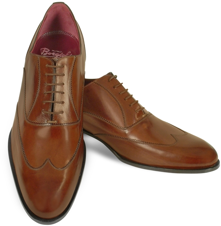 aa5aa544bc2 ... Fratelli Borgioli Handmade Brown Italian Leather Wingtip Oxford Shoes  ...