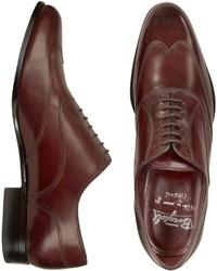 Fratelli Borgioli Handmade Burgundy Italian Leather Wingtip Oxford Shoes