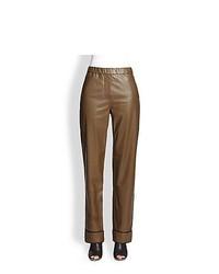 3.1 Phillip Lim Leather Pajama Pants Olive