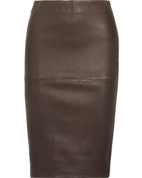 Floridia stretch leather midi skirt chocolate medium 5422712