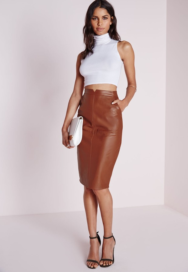 07f28535666 ... Missguided Faux Leather Midi Skirt Tan ...