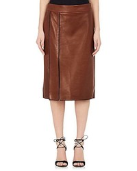 Nina Ricci Whipstitched Leather Pencil Skirt