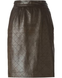 Saint Laurent Yves Vintage Stitched Leather Skirt