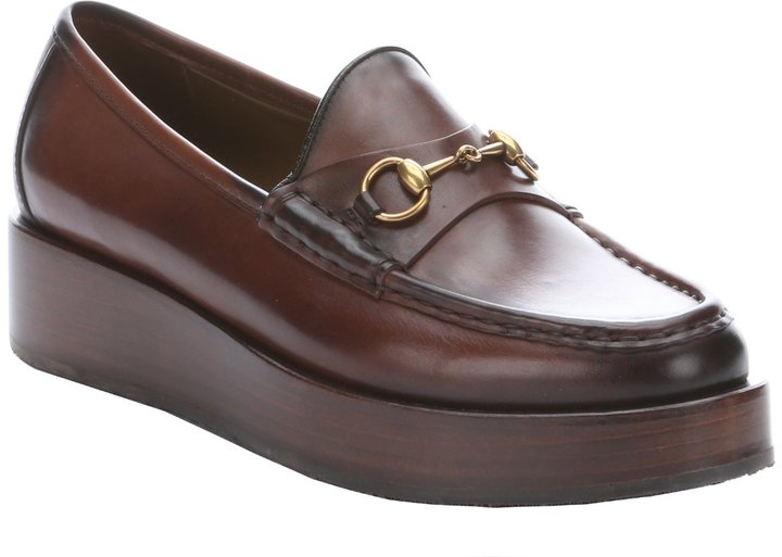 e6205e93343d ... Platform Loafers Gucci Cocoa Leather Moc Toe Horsebit Flatform Loafers  ...