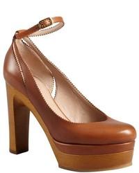 Chloé Chloe Tan Leather Pinked Trim Ankle Strap Wooden Platform Pumps