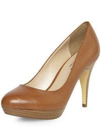 Dorothy Perkins Leather Tan Platform Court Shoes