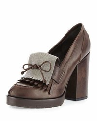 Brunello Cucinelli Monili Kiltie Leather Pump Brown