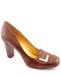 Nine West Jobst Brown Leather Pumps Heels Shoes