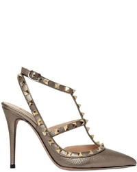 Valentino 100mm Rockstud Metallic Leather Pumps