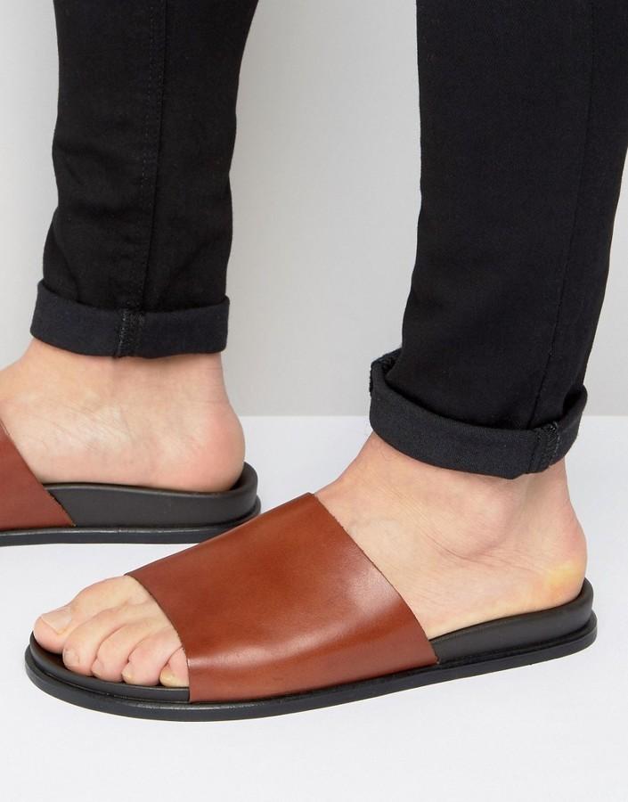 Leather Mule Slider Sandals great deals for sale OgAyz