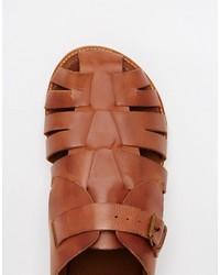90ab96df4 Asos Brand Fisherman Sandals In Tan Leather, $57 | Asos | Lookastic.com
