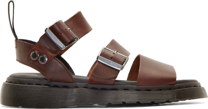 3cae2a5b06bb ... Dr. Martens Brown Leather Strap Sandals ...