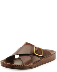 Tom Ford Edie Crisscross Leather Sandal Brown