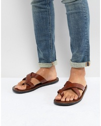 Pier One Leather Sandals In Tan