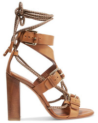 Etro Rope Trimmed Leather Sandals Tan