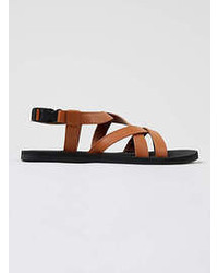 Topman Tan Leather Sports Sandals