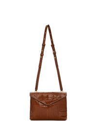 Staud Brown Croc Holly Convertible Bag