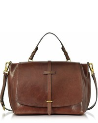 The Bridge Brown Leather Dual Function Oversized Satchel Bag