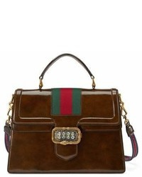 Gucci Linea Crystal Clasp Leather Satchel