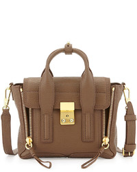Pashli mini leather satchel taupe medium 270718