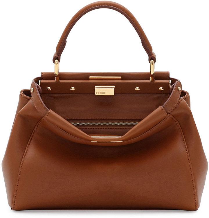 a75a5a051840 ... Fendi Peekaboo Mini Leather Satchel Bag Brown ...