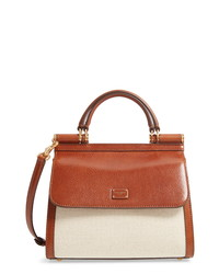 Dolce & Gabbana Sicily 58 Canvas Leather Satchel