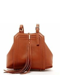 Susu Brown Leather Satchel Bag With Tassels
