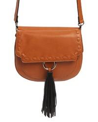 Cesca Tassel Detail Faux Leather Saddle Bag