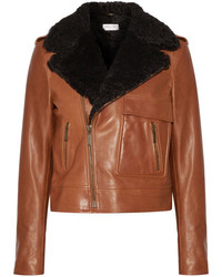 Shearling trimmed leather biker jacket tan medium 4393759