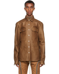 Rick Owens Tan Leather Outershirt Jacket