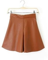 ChicNova High Waist Pu Leather Shorts