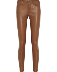 Brown Leather Skinny Pants