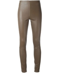 ecf109d990aa28 Women's Brown Leather Skinny Pants by By Malene Birger | Women's ...