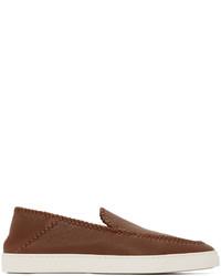 Giorgio Armani Brown Leather Washed Sneakers