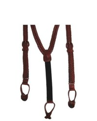 Geoffrey beene v braided leather suspenders by brown one size medium 113210