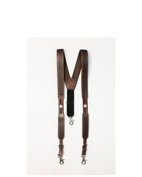 Nocona Suspenders Galluse Embossed Star Brown N8512629