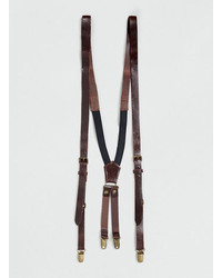Topman Brown Leather Suspenders