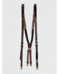 Topman Brown Leather Suspenders