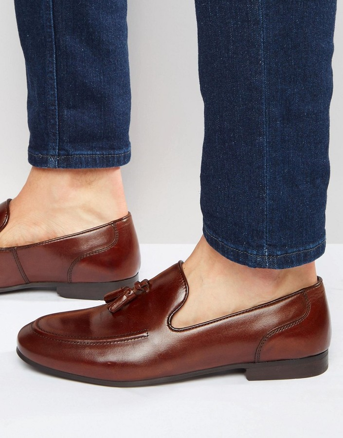ab0dff0ee00 ... Red Tape Tassel Loafers In Brown Leather ...