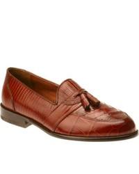Stacy Adams Santana 23121 Cognac Snakecrocolizard Print Leather Tassel Loafers
