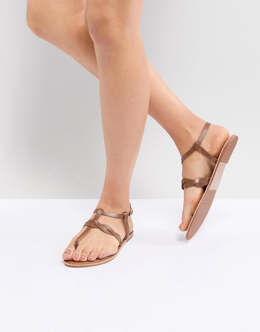 New Look Leather Twist Toe Post Flat